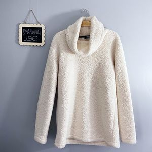 [Land's End] Cream Sherpa Cown Neck Warm Sweater